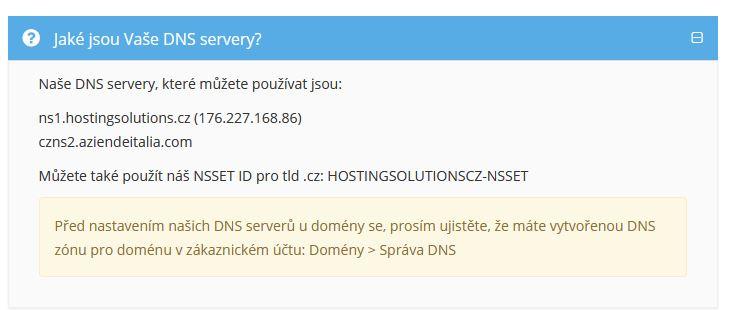 DNS servery a NSSET HostingSolutions